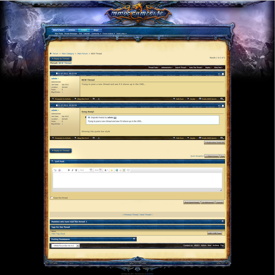 SELL] Custom vBulletin MMO Theme [CHEAP]