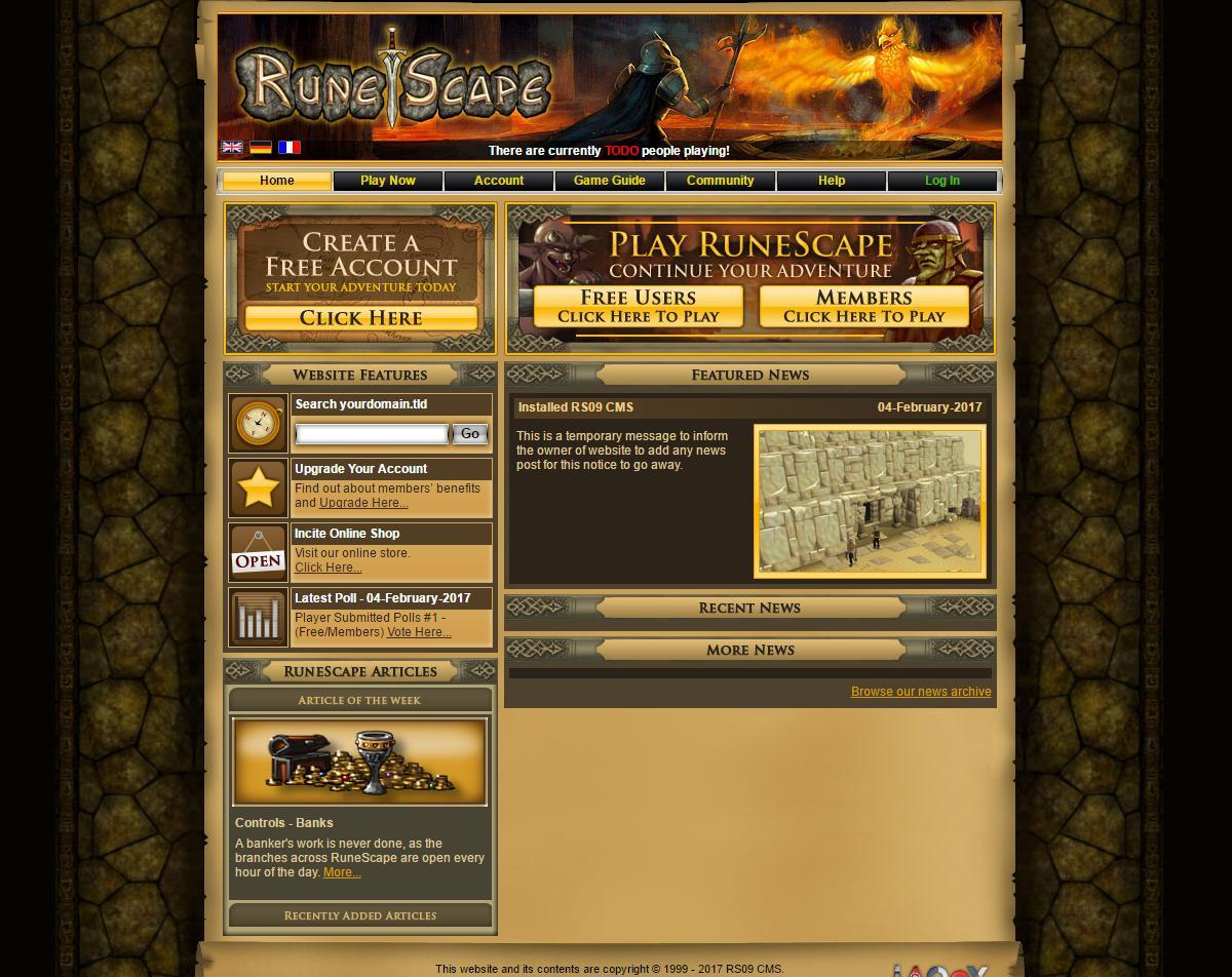 RuneScape 2009 website + CMS